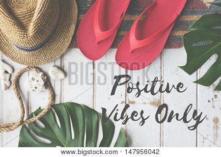Summer Break Lifestyle Flipflop Vacatoin Words Concept