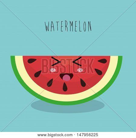 cartoon watermelon sliced fruit facial expression design isolated vector illustration esp 10
