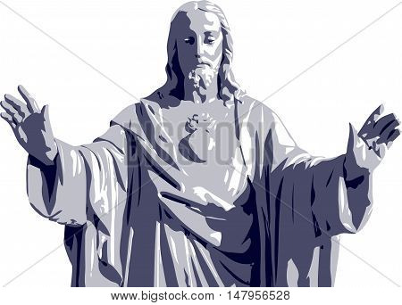 Vector illustration of a Jesus Christ statue