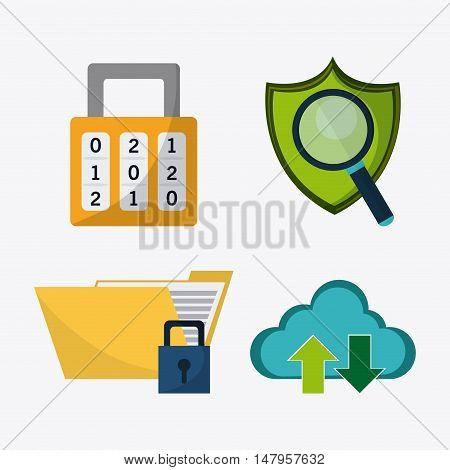Padlock shield lupe file and cloud icon. Data protection cyber security system and media theme. Colorful design. Vector illustration
