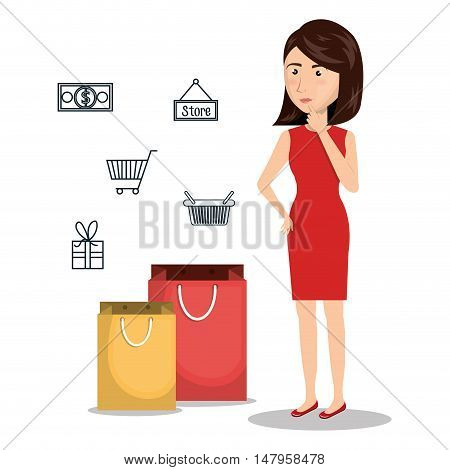cartoon woman e-commerce buy isolated design, vector illustration  graphic