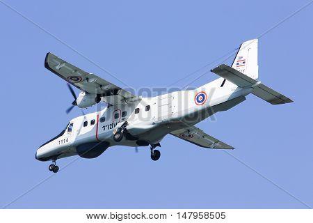 CHIANGMAI, THAILAND -JANUARY 7 2013: 1114 Dornier 228 of Royal Thai Navy. Landing to Chiang mai international airport. Chiangmai, thailand.