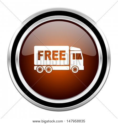 free delivery round circle glossy metallic chrome web icon isolated on white background