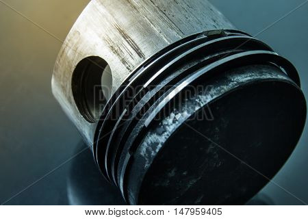 close up of piston from a motorcycle  part engine