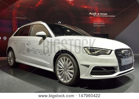 Wolfsburg, Germany - April 15, 2016. Audi A3 e-tron car on display Audi permanent showroom in Autostadt theme park in Wolfsburg.