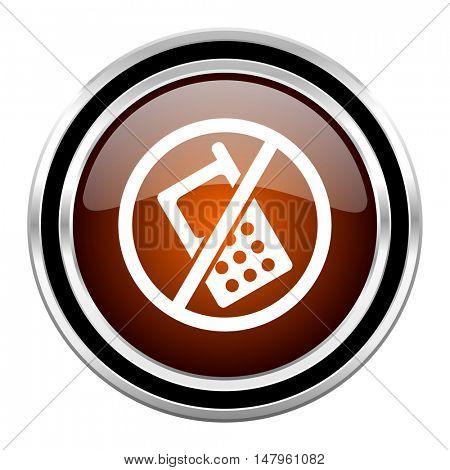 no phone round circle glossy metallic chrome web icon isolated on white background