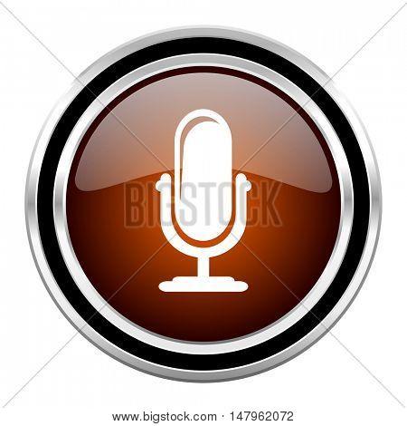 microphone round circle glossy metallic chrome web icon isolated on white background