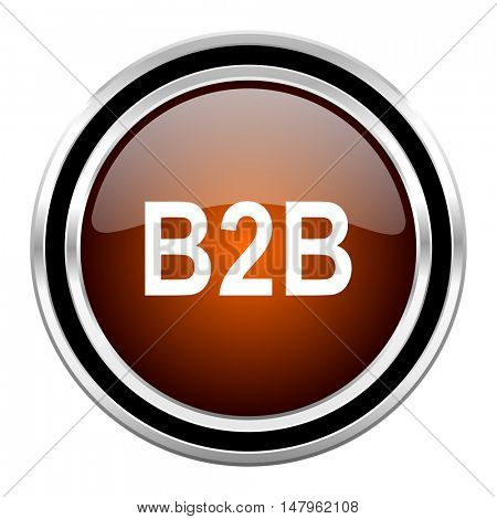 b2b round circle glossy metallic chrome web icon isolated on white background