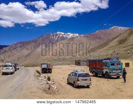 LEH LADAKH INDIA - JULY 9 2014 : Khardungla Pass the highest motorable pass in the world ladakh Jammu and Kashmir India