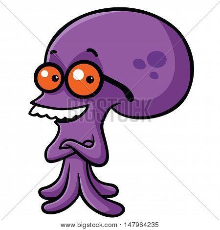 Smiling Octopus Wearing Glass Nerd Geek Cartoon Vector