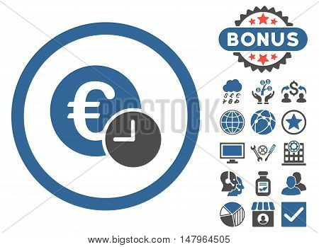 Euro Credit icon with bonus pictogram. Vector illustration style is flat iconic bicolor symbols, cobalt and gray colors, white background.