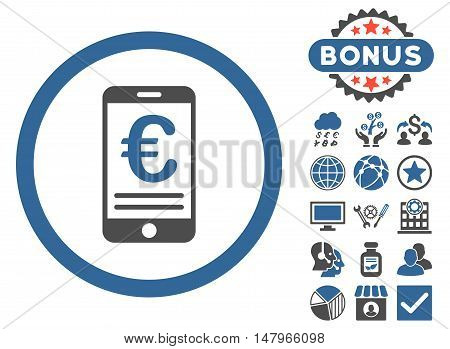 Euro Mobile Bank Account icon with bonus elements. Vector illustration style is flat iconic bicolor symbols, cobalt and gray colors, white background.