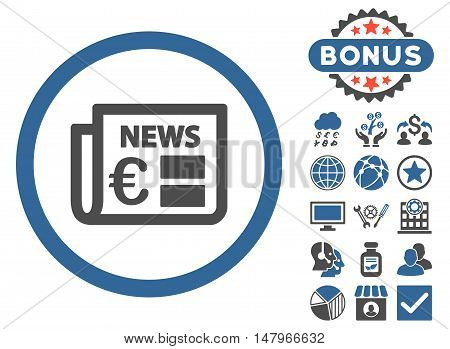 Euro Newspaper icon with bonus images. Vector illustration style is flat iconic bicolor symbols, cobalt and gray colors, white background.