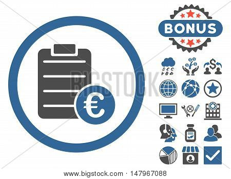 Euro Prices icon with bonus design elements. Vector illustration style is flat iconic bicolor symbols, cobalt and gray colors, white background.