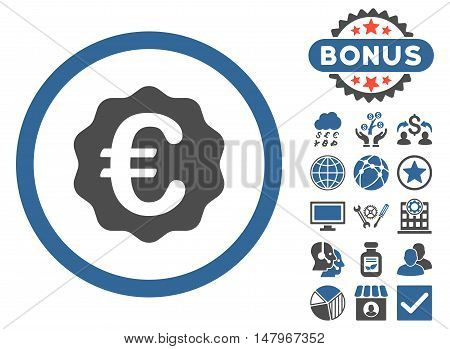 Euro Reward Seal icon with bonus images. Vector illustration style is flat iconic bicolor symbols, cobalt and gray colors, white background.