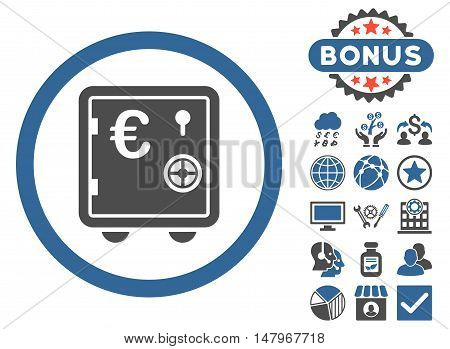 Euro Safe icon with bonus symbols. Vector illustration style is flat iconic bicolor symbols, cobalt and gray colors, white background.