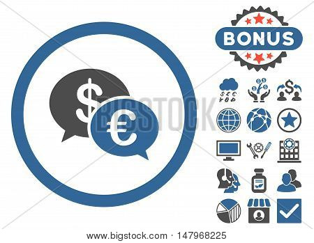 Euro Transactions icon with bonus symbols. Vector illustration style is flat iconic bicolor symbols, cobalt and gray colors, white background.