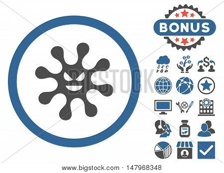 Evil Bacteria icon with bonus pictures. Vector illustration style is flat iconic bicolor symbols, cobalt and gray colors, white background.