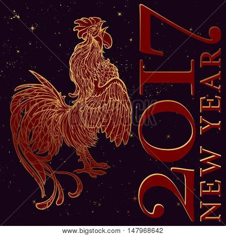 New year greeting card or calendar cover with a rooster as a symbol of the 2017 year. Intricate linear drawing of the Rooster on black night sky background with golden stars. EPS10 vector illustration