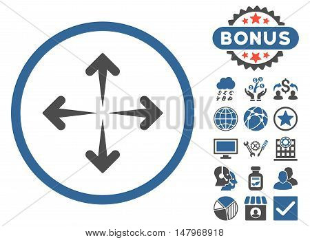 Expand Arrows icon with bonus design elements. Vector illustration style is flat iconic bicolor symbols, cobalt and gray colors, white background.