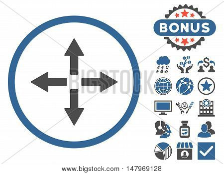 Expand Arrows icon with bonus elements. Vector illustration style is flat iconic bicolor symbols, cobalt and gray colors, white background.