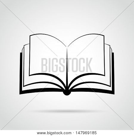 Illustration of open book design black drawing