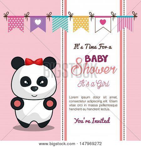 invitation baby shower card with panda girl desing vector illustration eps 10
