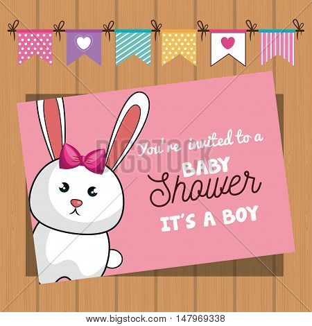 invitation baby shower card with bunny desing vector illustration eps 10
