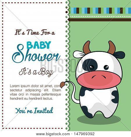 invitation baby shower card with bull desing vector illustration eps 10