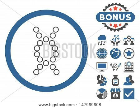 Genome icon with bonus pictures. Vector illustration style is flat iconic bicolor symbols, cobalt and gray colors, white background.
