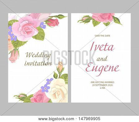 Romantic vintage greeting card holiday invitation to wedding, birthday, valentines day, set vector illustration, delicate flower wreath of roses, buds, leaves, with an inscription on white background