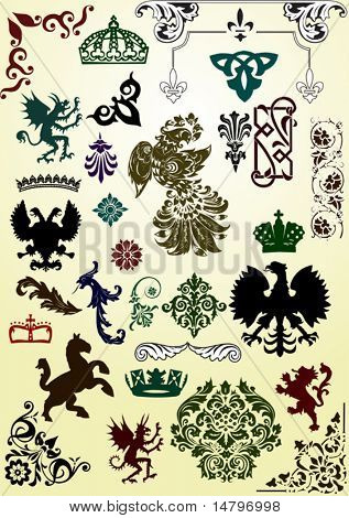 illustration with heraldic animals and ornaments on light background
