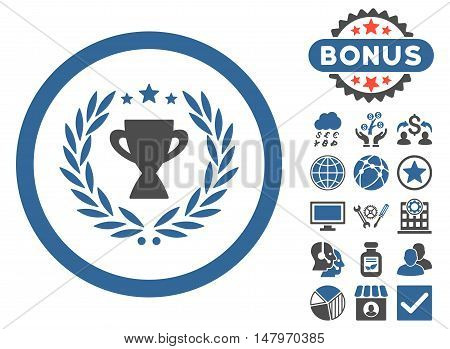 Glory icon with bonus symbols. Vector illustration style is flat iconic bicolor symbols, cobalt and gray colors, white background.