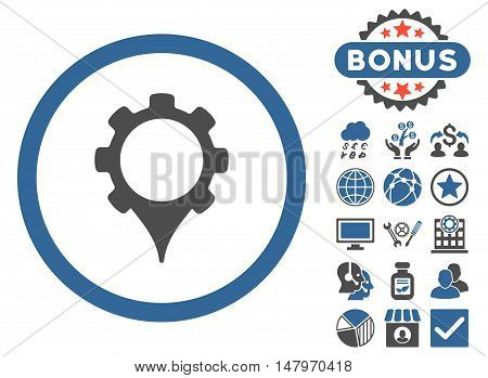 GPS Settings icon with bonus pictogram. Vector illustration style is flat iconic bicolor symbols, cobalt and gray colors, white background.