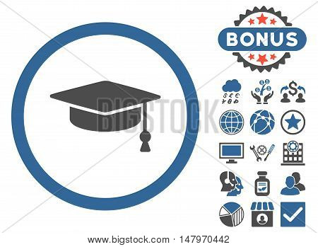 Graduation Cap icon with bonus pictures. Vector illustration style is flat iconic bicolor symbols, cobalt and gray colors, white background.