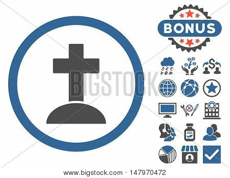 Grave icon with bonus symbols. Vector illustration style is flat iconic bicolor symbols, cobalt and gray colors, white background.