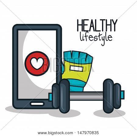 healthy lifestyle app glove barbell design vector illustration eps 10