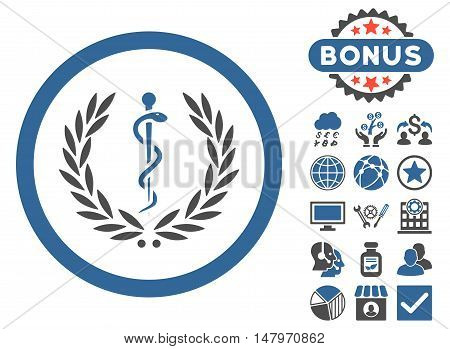 Health Care Emblem icon with bonus pictures. Vector illustration style is flat iconic bicolor symbols, cobalt and gray colors, white background.