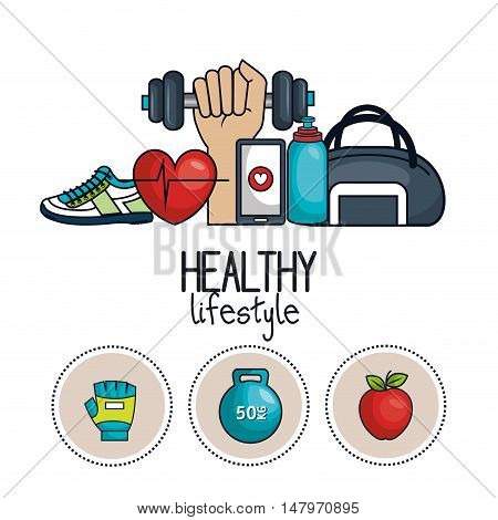 healthy lifestyle concept icons sport design vector illustration eps 10