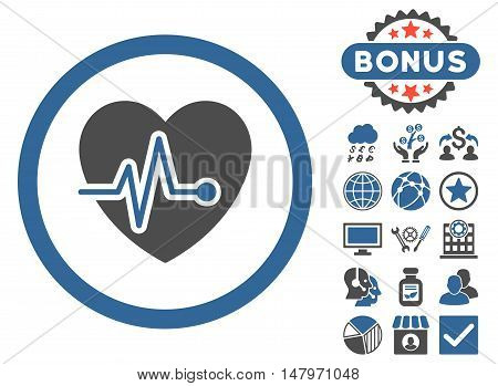 Heart Pulse icon with bonus pictures. Vector illustration style is flat iconic bicolor symbols, cobalt and gray colors, white background.