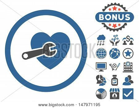 Heart Surgery icon with bonus elements. Vector illustration style is flat iconic bicolor symbols, cobalt and gray colors, white background.