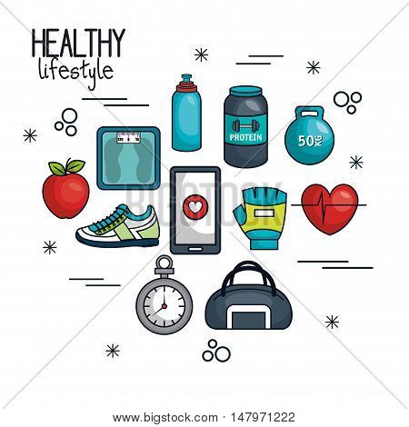 healthy lifestyle concept elements sport vector illustration eps 10