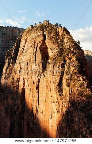 Beautiful view of Mount Angels Landing trail in Zion National Park Utah USA