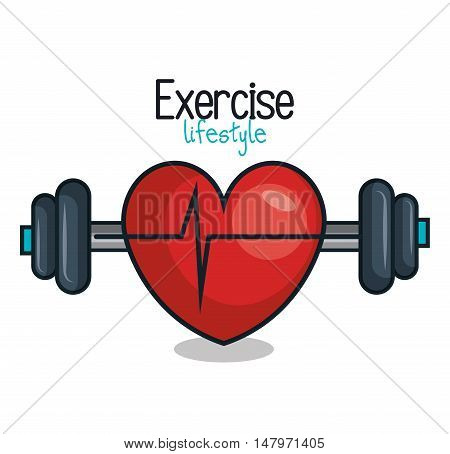 exercise lifestyle barbell heartrate design vector illustration eps 10