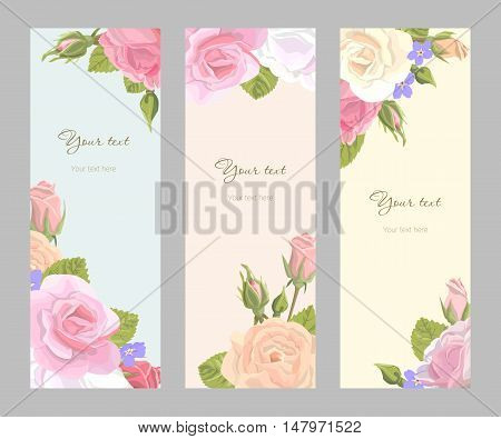 Romantic set vintage vertical banner holiday to wedding birthday valentines day vector illustration delicate flower wreath of roses buds leaves