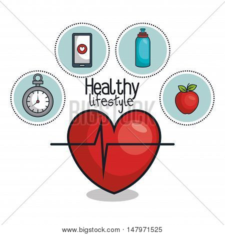 healthy lifestyle elements icons design vector illustration eps 10