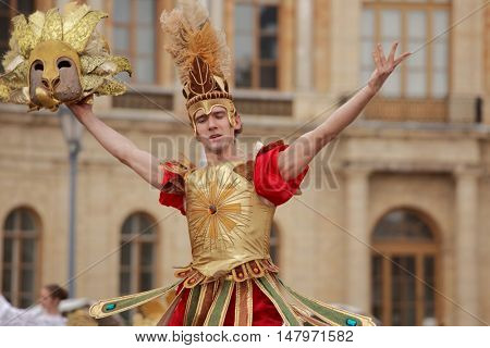 GATCHINA, ST. PETERSBURG, RUSSIA - SEPTEMBER 10, 2016: Actor in images of Roman Emperor in the show during the festival Gatchinskaya Byl. The festival is held first time this year
