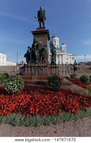 HELSINKI, FINLAND - AUGUST 21, 2016: Statue of Russian Emperor Alexander II on Senate square. The statue, erected in 1894, was built to commemorate his re-establishment of the Diet of Finland in 1863