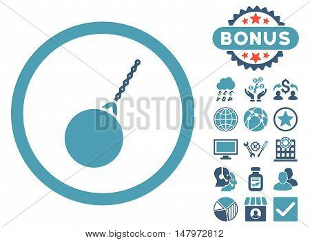 Destruction Hammer icon with bonus symbols. Vector illustration style is flat iconic bicolor symbols, cyan and blue colors, white background.