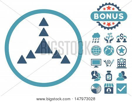 Direction Triangles icon with bonus pictogram. Vector illustration style is flat iconic bicolor symbols, cyan and blue colors, white background.